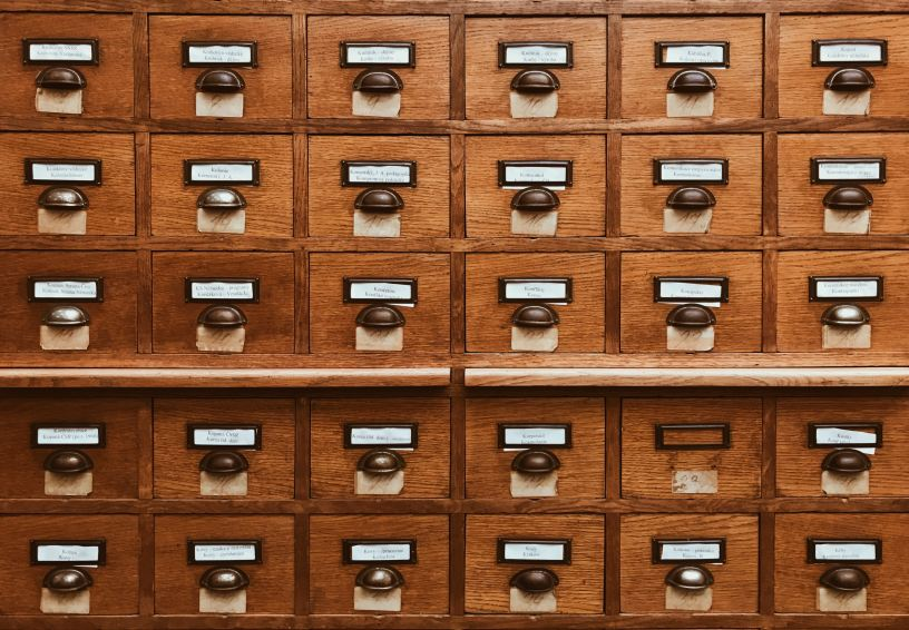 Photo is of a card catalogue